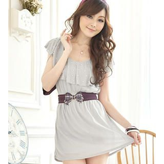 Buy Tokyo Fashion Ruffle-Collar Beaded Knit Dress 1022911437