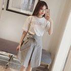 Set: Lettering Short Sleeve T-Shirt + A-Line Skirt 1596