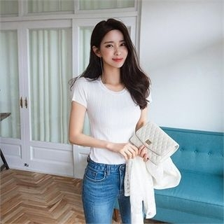 Ribbed Slim-Fit Knit Top 1066553004
