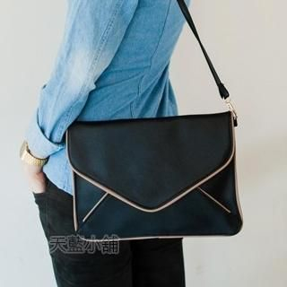 Contrast-Piping Envelope Clutch with Purse