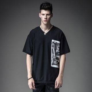 Print V-neck Short-Sleeve T-shirt 1057476333