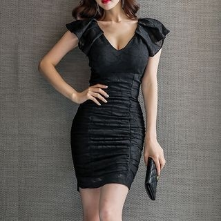 Ruffle Sleeve Shirred Sheath Dress 1060802270