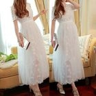 Short-Sleeve Embroidered Maxi Party Dress 1596