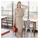 Set: Round-Neck Knit Top + Knit Skirt 1596