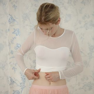 Image of Long-Sleeve Mesh Crop Shaping Top