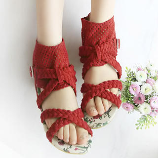 Picture of KAWO Braided Cross-Strap Perforated Cuffed Sandals 1022917656 (Sandals, KAWO Shoes, China Shoes, Womens Shoes, Womens Sandals)