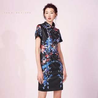 Printed Mandarin Collar Short Sleeve Dress 1058188453