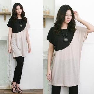 Picture of Antic Beads Color-Block Long T-Shirt 1022734935 (Antic Beads Dresses, Womens Dresses, South Korea Dresses, T-Shirt Dresses)