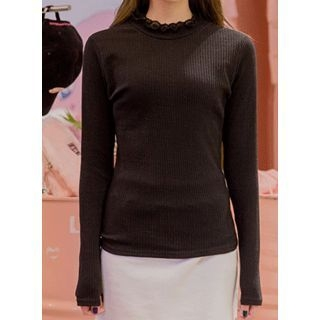 Lace Mock-Neck Ribbed T-Shirt 1056814457