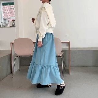 DISCOSALON Band-Waist Frilled-Hem Corduroy Skirt