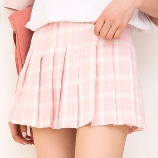 Plaid Pleated Mini Skirt 1060062173