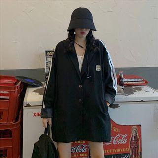 Image of Contrast Trim Button Blazer Black - One Size