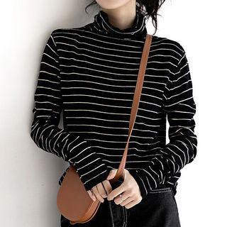 Long-sleeve   Turtleneck   T-Shirt   Stripe   Black