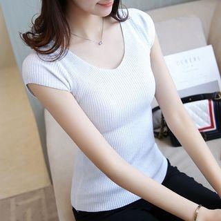 Ribbed V-Neck Cap-Sleeve T-Shirt 1059918977