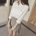 Set: Plain Long-Sleeve Shirt + Ruffle Hem Mini Skirt 1596
