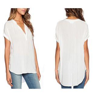 V-neck Short-Sleeve Chiffon Top 1051161227