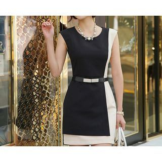 Sleeveless Contrast Color Sheath Dress