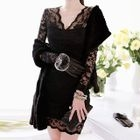 Lace Panel V-neck Long-Sleeve Dress 1596