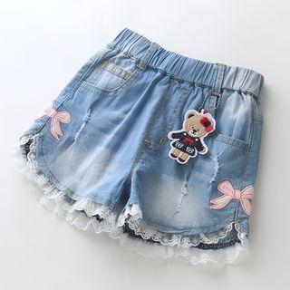 Kids Lace Trim Denim Shorts 1060700055