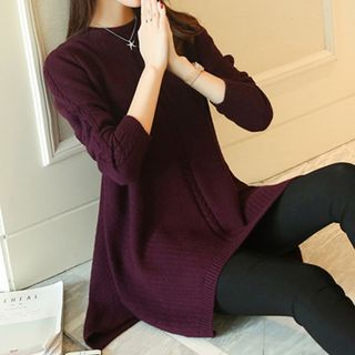 Ribbed Long-Sleeve Knit Dress 1062975954