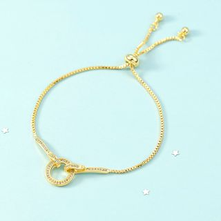 Rhinestone | Bracelet | Hoop | Gold | Size | One