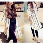 Pinstripe Elbow-Sleeve Long Blouse 1596