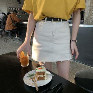 Image of Fringed Trim A-Line Skirt