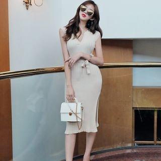 Ribbed Side-Slit Sleeveless Bodycon Dress 1060956181