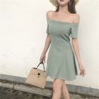 Plain Off-shoulder Short-Sleeve Dress 1596