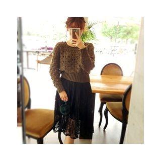 Set: Open-Knit Sweater + Sleeveless Lace Dress 1054039094