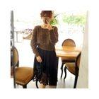 Set: Open-Knit Sweater + Sleeveless Lace Dress 1596