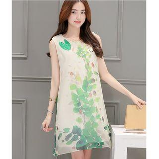 MAVIS Leaf Print Sleeveless Chiffon Dress