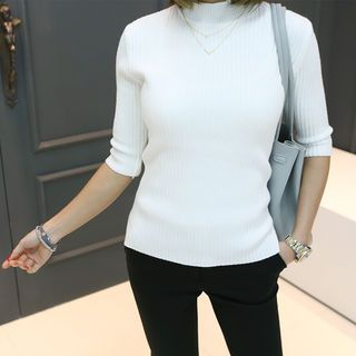 Mock-Neck Elbow-Sleeve Ribbed Top 1057355044