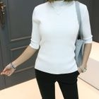 Mock-Neck Elbow-Sleeve Ribbed Top 1596