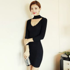 Long-Sleeve Cutout Sheath Knit Dress 1596