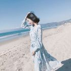 Long-Sleeve Printed Tie-Waist Dress 1596