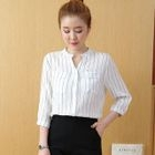 Pinstriped 3/4-Sleeve Blouse 1596