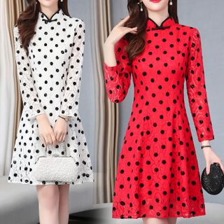 Image of Dotted Mandarin Collar Long-Sleeve Mini A-Line Dress