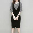 Set: Striped Long-Sleeve V-Neck T-Shirt + Pinafore Dress 1596