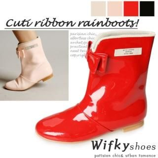 Picture of Wifky Bow Accent Rain Boots 1022830757 (Boots, Wifky Shoes, Korea Shoes, Womens Shoes, Womens Boots)