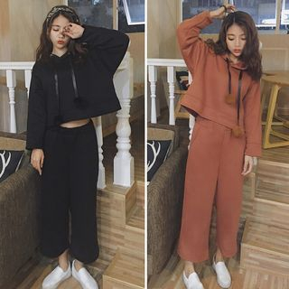 Set: Cropped Pompom Hoodie + Wide Leg Pants 1057409833