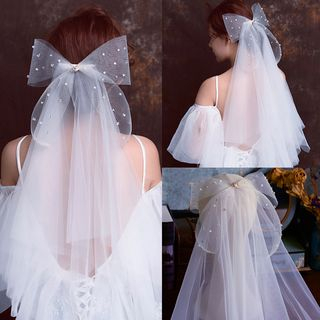 Image of Bow-accent Wedding Veil White - One Size
