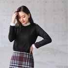 Lace-Trim Rib-Knit Top 1596