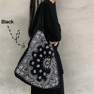 Pattern Canvas Tote Bag Black - One Size
