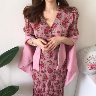 Image of Short-Sleeve Floral Maxi Sheath Dress Pink - One Size