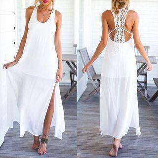Lace-Panel Maxi Dress 1050190329