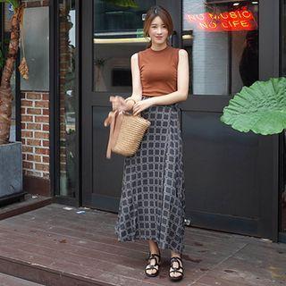 Band-Waist Wrap-Front Pattern Long Skirt 1061138161