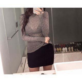 Band-Waist Ribbed Knit Mini Skirt 1057165462