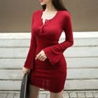 Long-Sleeve Buttoned Sheath Dress 1596