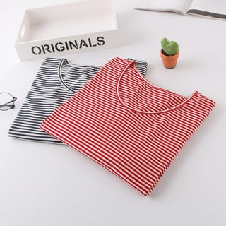 elbow-sleeve-striped-t-shirt